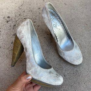 Alice Olivia Grey Pony Hair Metallic Platform Heel